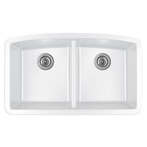 """Karran QU-710 WHITE, 32-1/2"""" x 19-1/2"""" Quartz Undermount Kitchen Sink Double Bowl, White"""