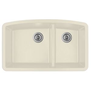 "Karran QU-711 BISQUE, 32-1/2"" x 19-1/2"" Quartz Undermount Kitchen Sink Double Bowl, Bisque"