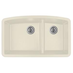 """32"""" Undermount Large/Small Bowl Quartz Kitchen Sink Bisque Karran QU-711-BI"""