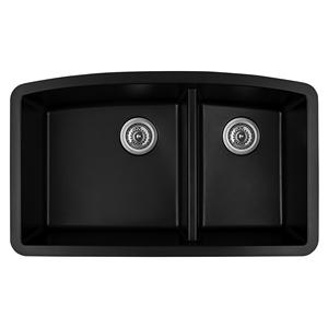 "Karran QT-711 BLACK, 33"" x 22"" Quartz Top Mount Kitchen Sink Double Bowl, Black"