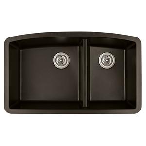 """Karran QU-711 BROWN, 32-1/2"""" x 19-1/2"""" Quartz Undermount Kitchen Sink Double Bowl, Brown"""