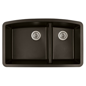 "Karran QT-711 BROWN, 33"" x 22"" Quartz Top Mount Kitchen Sink Double Bowl, Brown"