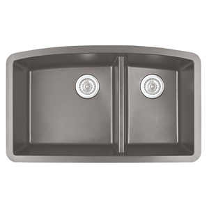 "Karran QU-711 CONCRETE, 32-1/2"" x 19-1/2"" Quartz Undermount Kitchen Sink Double Bowl, Concrete"