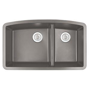 """Karran QT-711 CONCRETE, 33"""" x 22"""" Quartz Top Mount Kitchen Sink Double Bowl, Concrete"""