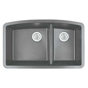 "Karran QU-711 GREY, 32-1/2"" x 19-1/2"" Quartz Undermount Kitchen Sink Double Bowl, Grey"