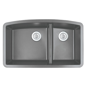 "Karran QT-711 GREY, 33"" x 22"" Quartz Top Mount Kitchen Sink Double Bowl, Grey"