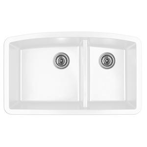 "Karran QT-711 WHITE, 33"" x 22"" Quartz Top Mount Kitchen Sink Double Bowl, White"