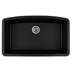 "Karran QU-712 BLACK, 32-1/2"" x 19-1/2"" Quartz Undermount Kitchen Sink Single Bowl, Black"