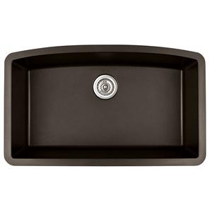 """Karran QU-712 BROWN, 32-1/2"""" x 19-1/2"""" Quartz Undermount Kitchen Sink Single Bowl, Brown"""
