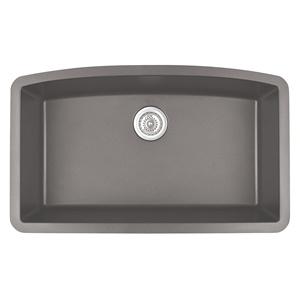 "Karran QU-712 CONCRETE, 32-1/2"" x 19-1/2"" Quartz Undermount Kitchen Sink Single Bowl, Concrete"