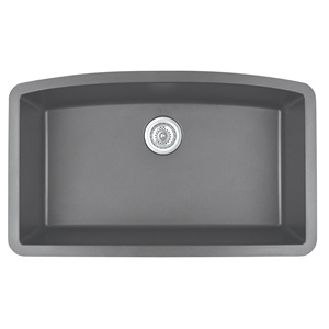 "Karran QU-712 GREY, 32-1/2"" x 19-1/2"" Quartz Undermount Kitchen Sink Single Bowl, Grey"