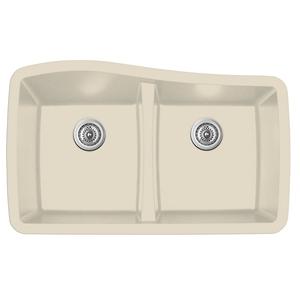 """Karran QU-720 BISQUE, 33-1/2"""" x 20-1/2"""" Quartz Undermount Kitchen Sink Double Bowl, Bisque"""
