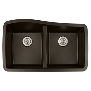 "Karran QU-720 BROWN, 33-1/2"" x 20-1/2"" Quartz Undermount Kitchen Sink Double Bowl, Brown"