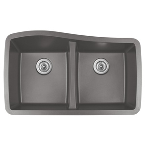 "Karran QU-720 CONCRETE, 33-1/2"" x 20-1/2"" Quartz Undermount Kitchen Sink Double Bowl, Concrete"