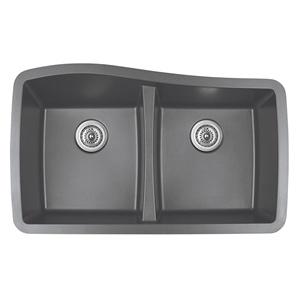 "Karran QU-720 GREY, 33-1/2"" x 20-1/2"" Quartz Undermount Kitchen Sink Double Bowl, Grey"