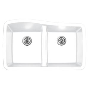 """Karran QU-720 WHITE, 33-1/2"""" x 20-1/2"""" Quartz Undermount Kitchen Sink Double Bowl, White"""