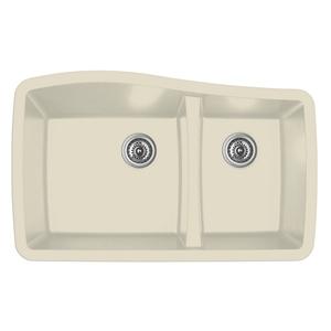 """Karran QU-721 BISQUE, 33-1/2"""" x 20-5/8"""" Quartz Undermount Kitchen Sink Double Bowl, Bisque"""