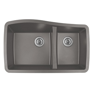"Karran QU-721 CONCRETE, 33-1/2"" x 20-5/8"" Quartz Undermount Kitchen Sink Double Bowl, Concrete"