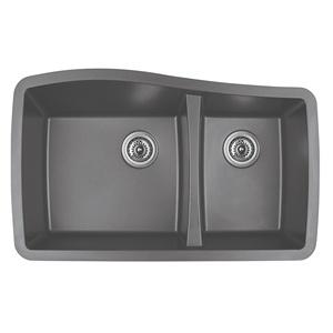"Karran QU-721 GREY, 33-1/2"" x 20-5/8"" Quartz Undermount Kitchen Sink Double Bowl, Grey"