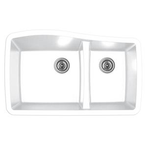 """Karran QU-721 WHITE, 33-1/2"""" x 20-5/8"""" Quartz Undermount Kitchen Sink Double Bowl, White"""