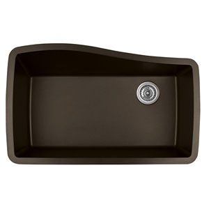 "Karran QU-722 BROWN, 33-1/2"" x 21"" Quartz Undermount Kitchen Sink Single Bowl, Brown"
