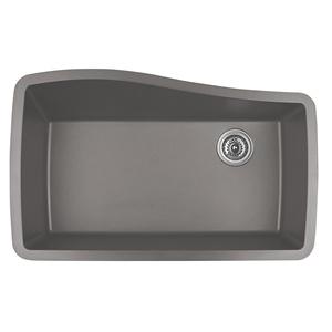 "Karran QU-722 CONCRETE, 33-1/2"" x 21"" Quartz Undermount Kitchen Sink Single Bowl, Concrete"