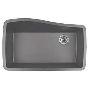 "Karran QU-722 GREY, 33-1/2"" x 21"" Quartz Undermount Kitchen Sink Single Bowl, Grey"