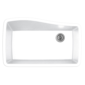 "Karran QU-722 WHITE, 33-1/2"" x 21"" Quartz Undermount Kitchen Sink Double Bowl, White"