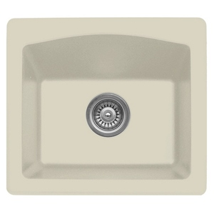 "Karran QX680-BI, 18"" x 16"" Quartz Sink Dual Mount Style Single Bar Bowl, Bisque"