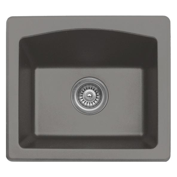 "Karran QX680-CONCRETE, 18"" x 16"" Quartz Sink Dual Mount Style Single Bar Bowl, Concrete"