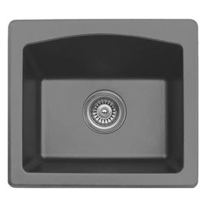 "Karran QX680-GREY, 18"" x 16"" Quartz Sink Dual Mount Style Single Bar Bowl, Grey"