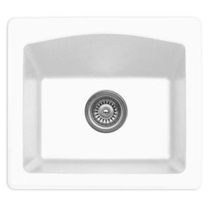 """Karran QX680-WH, 18"""" x 16"""" Quartz Sink Dual Mount Style Single Bar Bowl, White"""