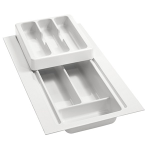 "8-3/4"" to 11-3/4"" 2-Tiered Cutlery Drawer Insert, Plastic, White, Rev-A-Shelf RT 10-4H"