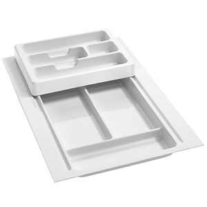 "11-3/4"" to 14-1/2"" 2-Tiered Cutlery Drawer Insert, Plastic, Glossy White, Rev-A-Shelf RT 12-3H"