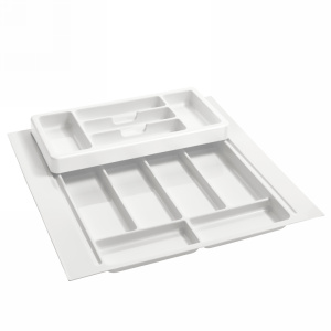 "21-3/4"" 2-Tiered Cutlery Drawer Insert, Plastic, White, Rev-A-Shelf RT 18-3H"
