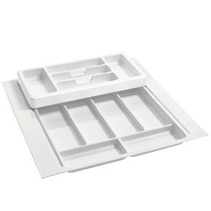 "21-3/4"" 2-Tiered Cutlery Drawer Insert, Plastic, White, Rev-A-Shelf RT 18-4H"