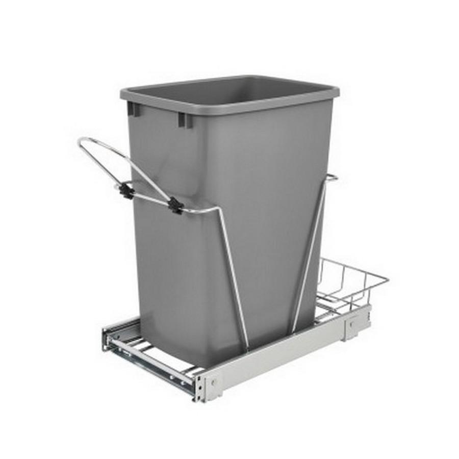 RV-12KD Single 35 Quart Bottom Mount Waste Container Chrome Rev-A-Shelf RV-12KD-17C S