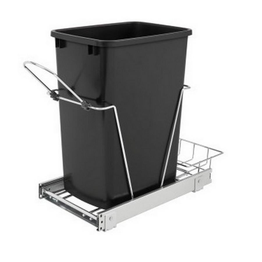 RV-12KD Single 35 Quart Bottom Mount Waste Container Chrome Rev-A-Shelf RV-12KD-18C S