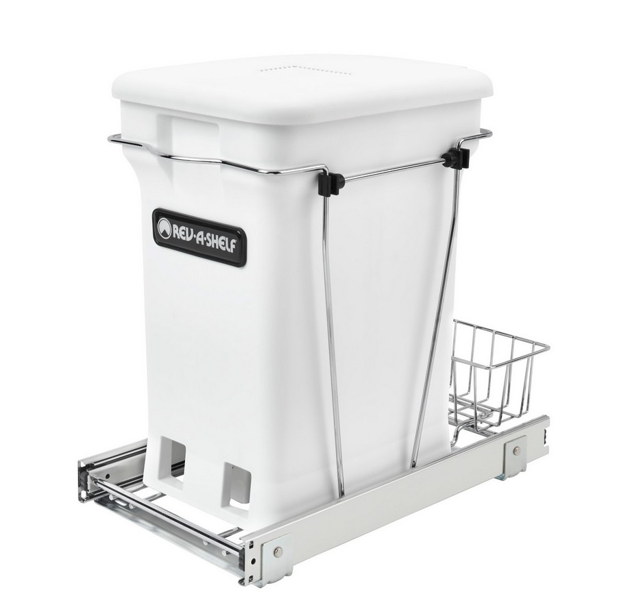 Bottom Mount Single Compo+ Pull-Out Waste Container White Rev-A-Shelf RV-12KD-CKWH-S
