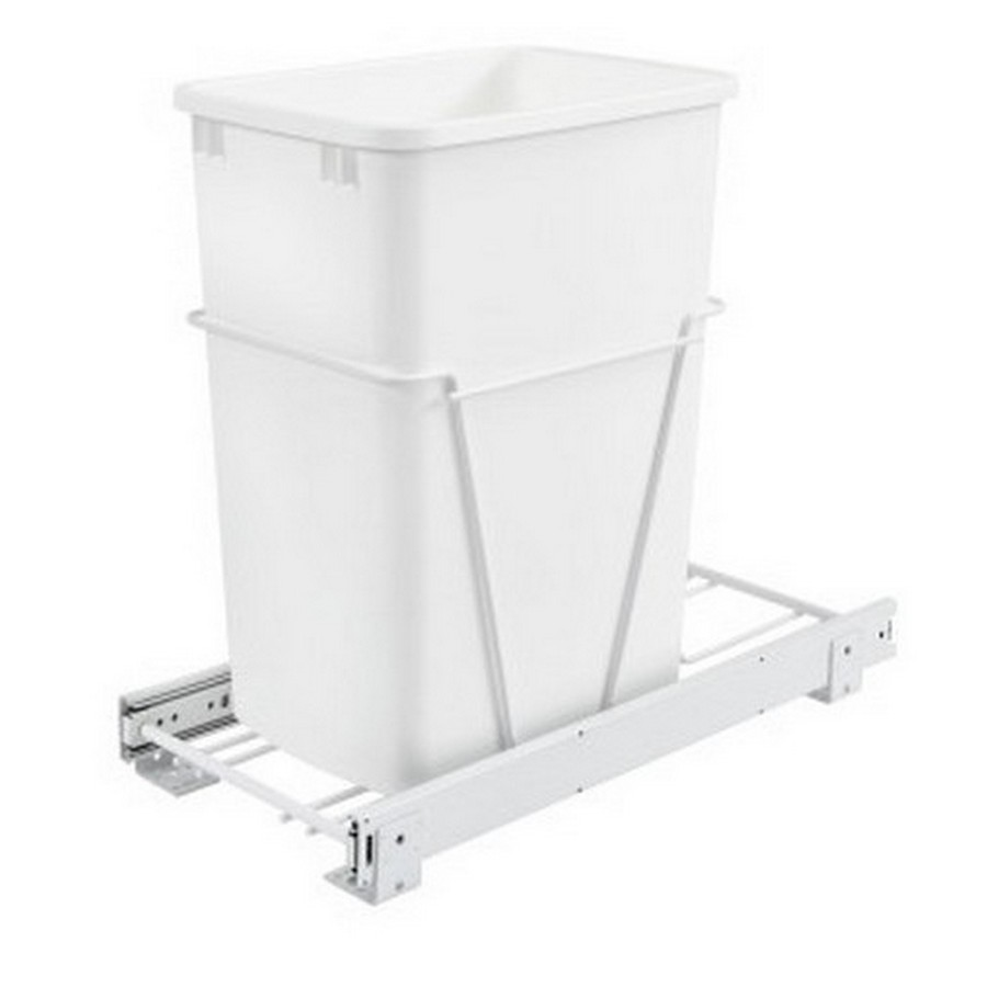 RV-12PB Single 35 Quart Bottom Mount Waste Container White Rev-A-Shelf RV-12PB S