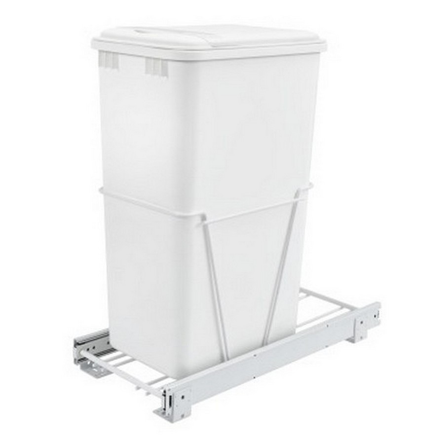 RV-12PB Single 50 Quart Bottom Mount Waste Container White Rev-A-Shelf RV-12PB-50 S