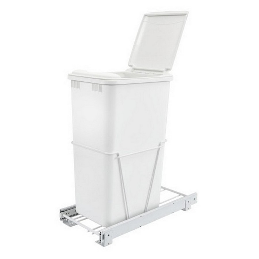 RV-12PB Single 50 Quart Bottom Mount Waste Container 3/4 Extension White Rev-A-Shelf RV-12PB-50