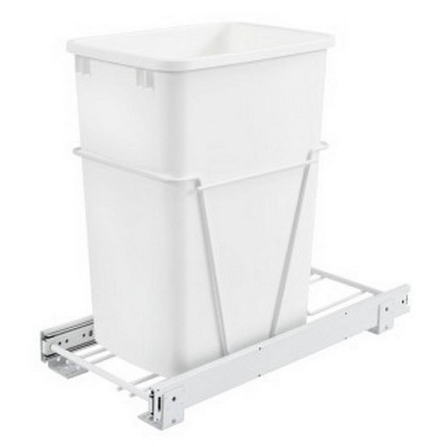 RV-12PB Single 35 Quart Bottom Mount Waste Container 3/4 Extension White Rev-A-Shelf RV-12PB