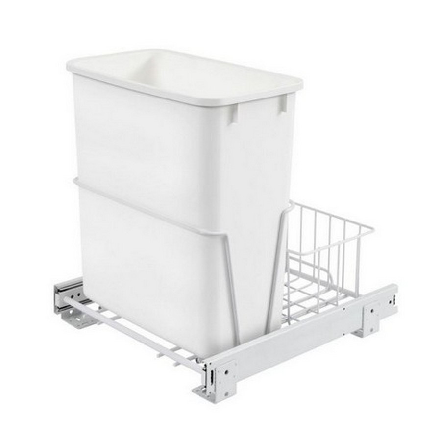 RV-14PB Single 20 Quart Bottom Mount Waste Container White Rev-A-Shelf RV-14PB S