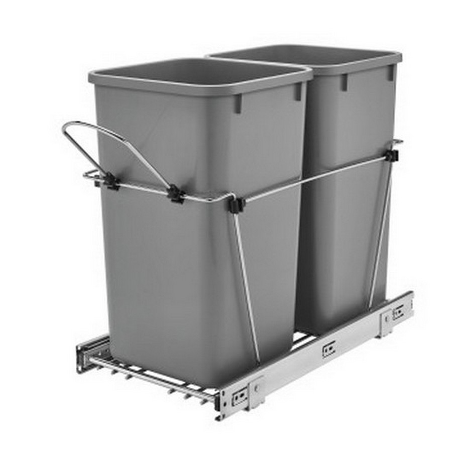 RV-15KD Double 27 Quart Bottom Mount Waste Container Chrome Rev-A-Shelf RV-15KD-17C S