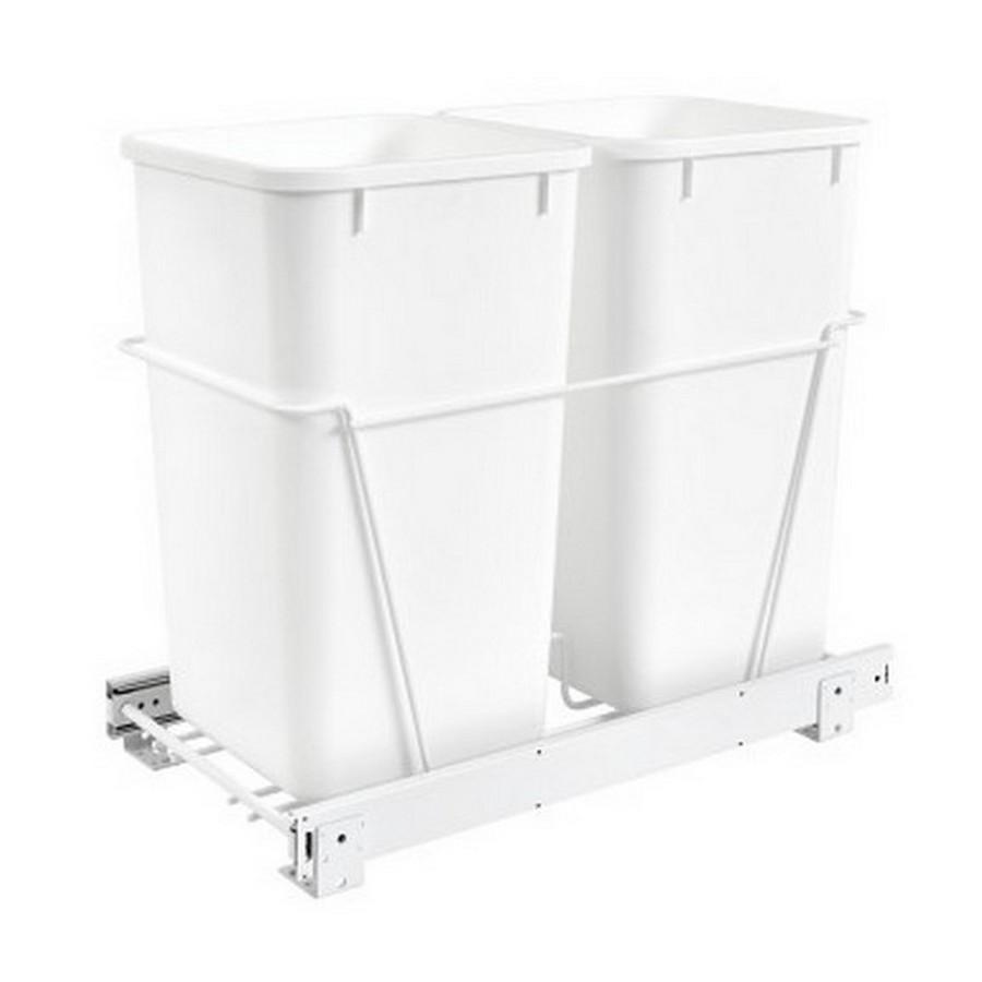 RV-15PB Double 27 Quart Bottom Mount Waste Container White Rev-A-Shelf RV-15PB-2 S
