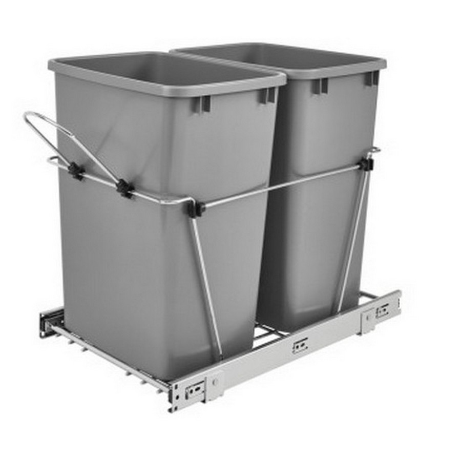 RV-18KD Double 35 Quart Bottom Mount Waste Container Chrome Rev-A-Shelf RV-18KD-17C S