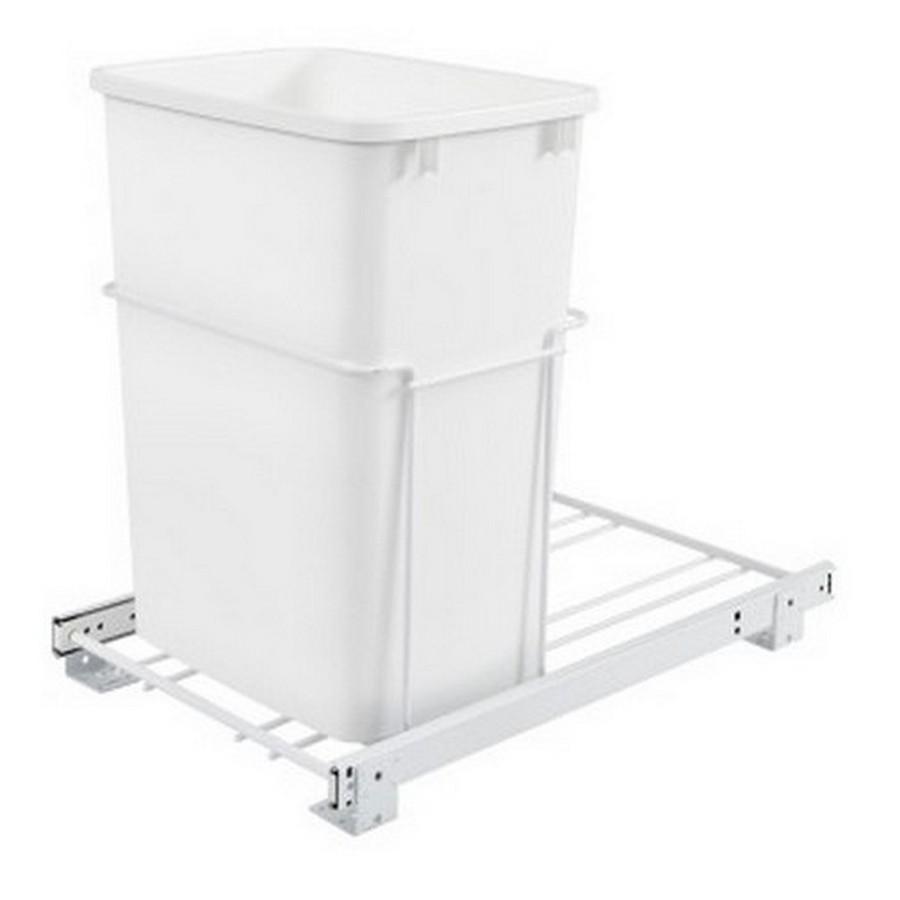 RV-18PB Single 35 Quart Bottom Mount Waste Container White Rev-A-Shelf RV-18PB-1