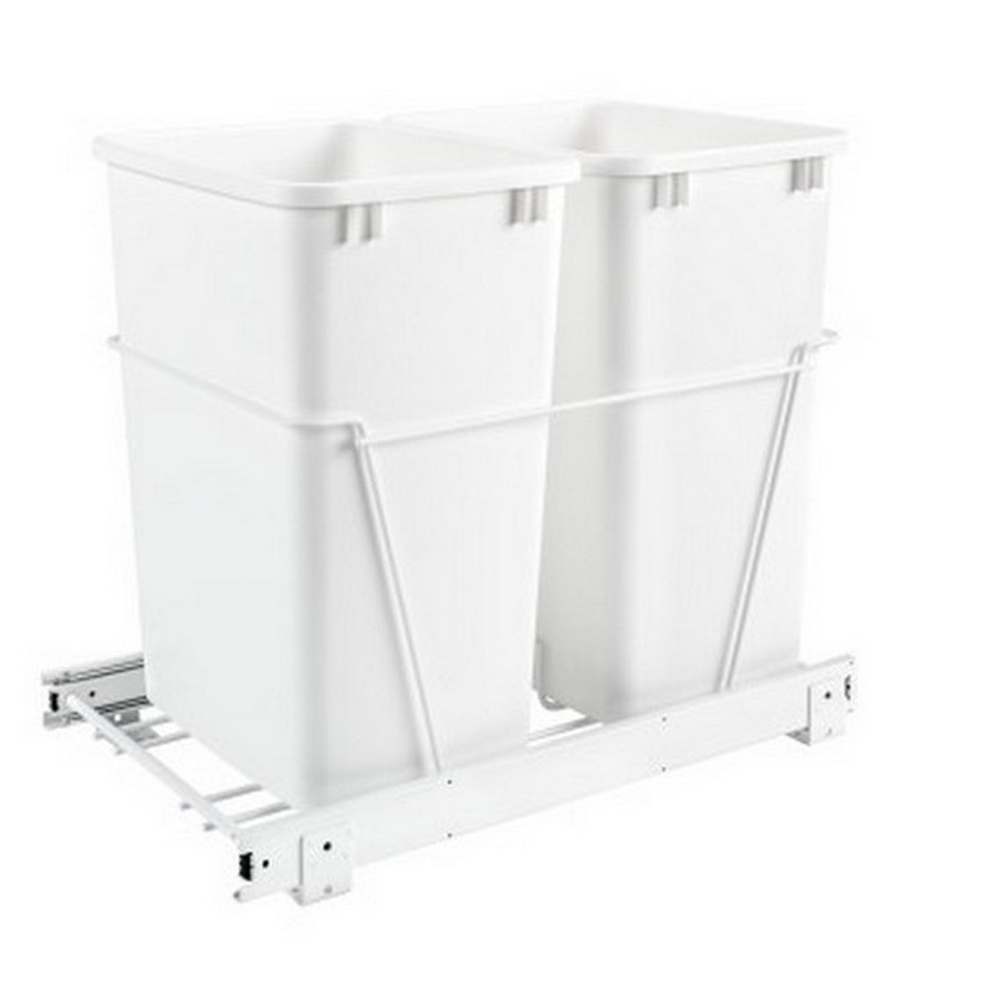 RV-18PB Double 35 Quart Bottom Mount Waste Container White Rev-A-Shelf RV-18PB-2 S