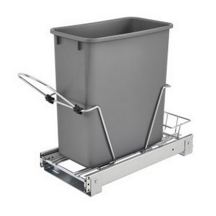 RV-8PB Single 20 Quart Bottom Mount Waste Container Chrome Rev-A-Shelf RV-8PB-CR S